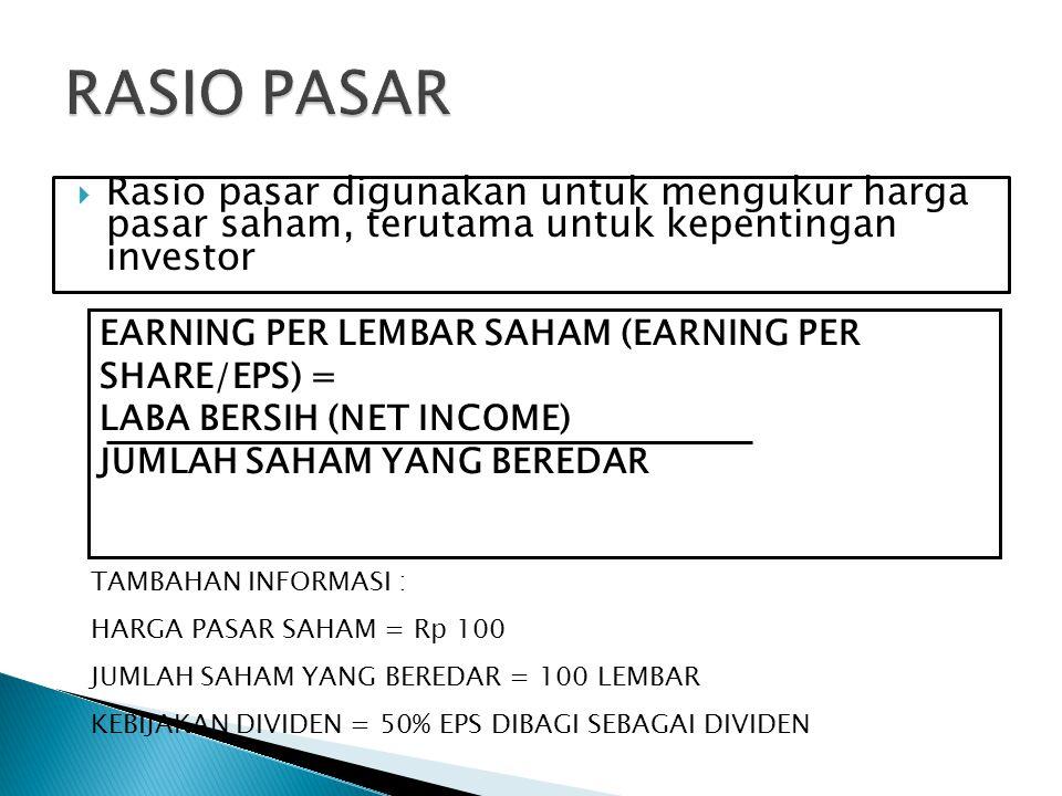 RASIO PASAR Rasio pasar digunakan untuk mengukur harga pasar saham, terutama untuk kepentingan investor.