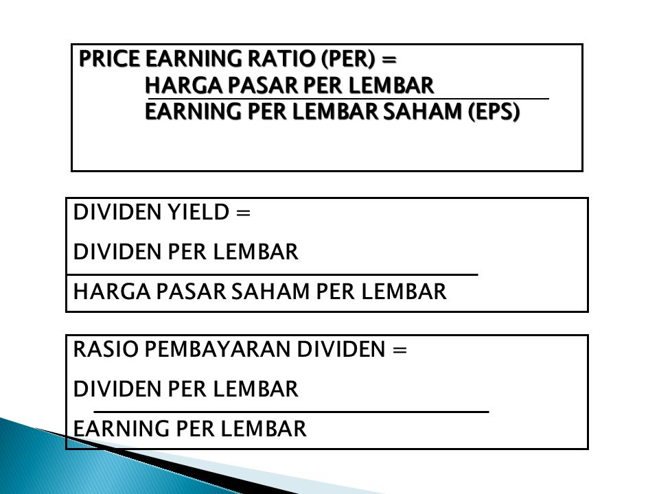 PRICE EARNING RATIO (PER) =