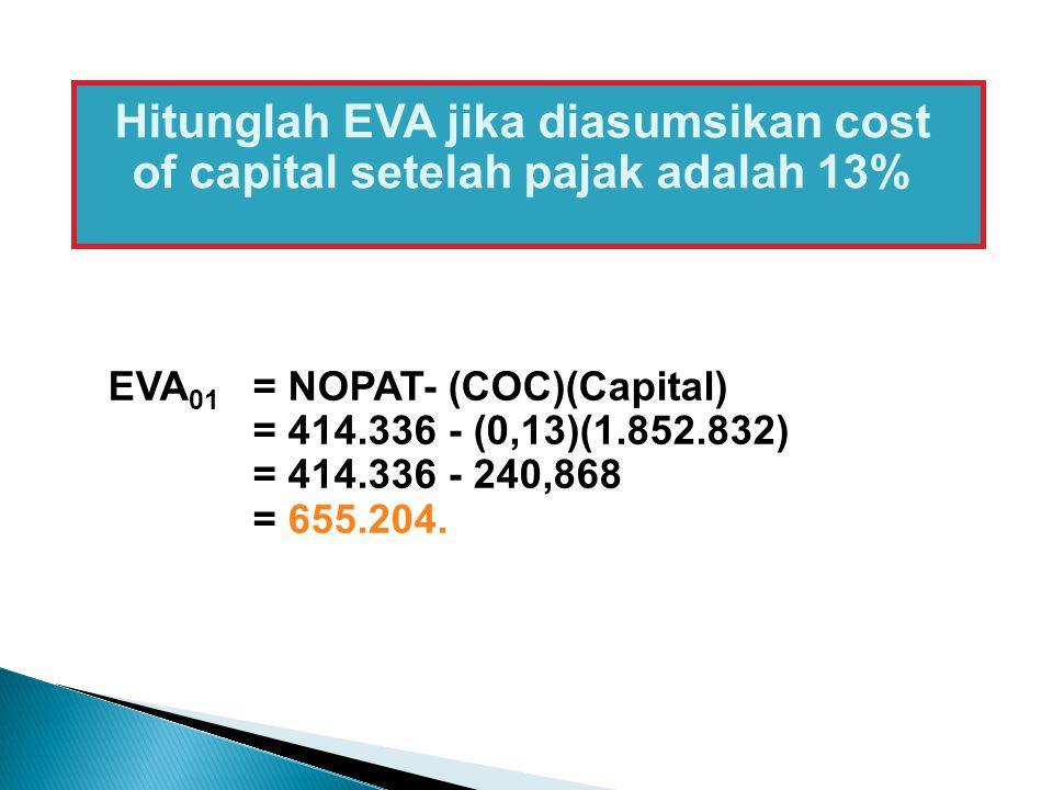 Hitunglah EVA jika diasumsikan cost of capital setelah pajak adalah 13%