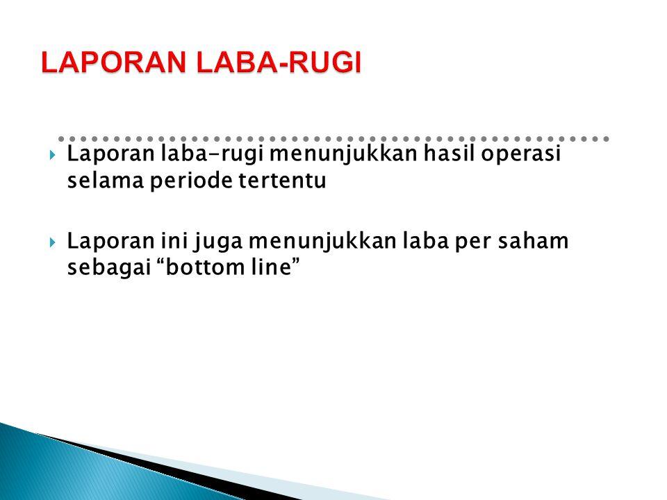 LAPORAN LABA-RUGI Laporan laba-rugi menunjukkan hasil operasi selama periode tertentu.