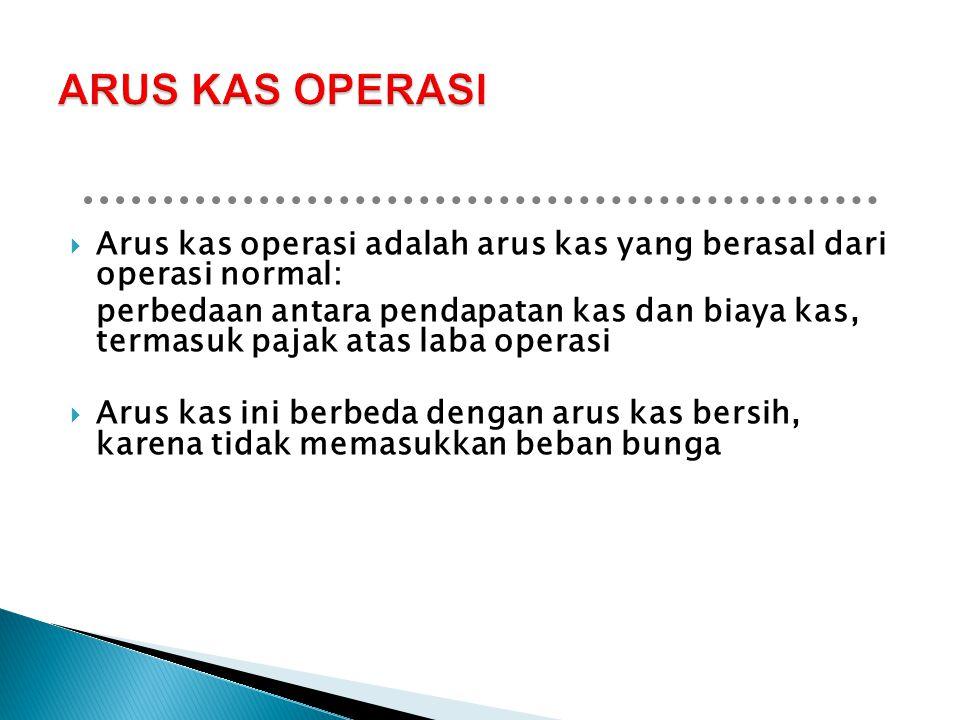 ARUS KAS OPERASI Arus kas operasi adalah arus kas yang berasal dari operasi normal: