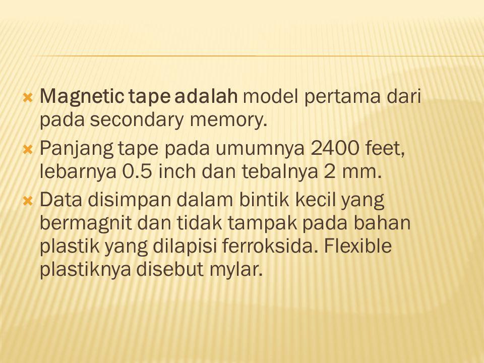 Magnetic tape adalah model pertama dari pada secondary memory.