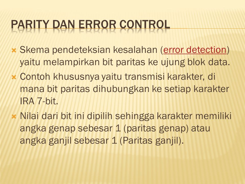 Parity dan error control