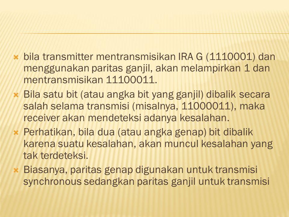 bila transmitter mentransmisikan IRA G (1110001) dan menggunakan paritas ganjil, akan melampirkan 1 dan mentransmisikan 11100011.
