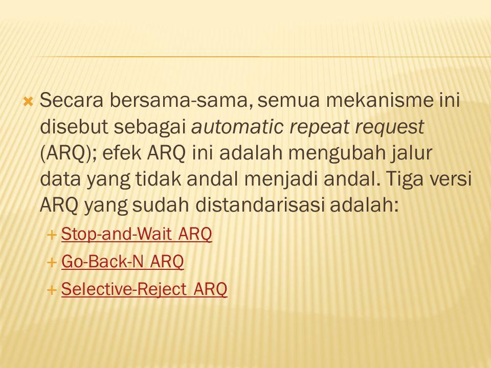 Secara bersama-sama, semua mekanisme ini disebut sebagai automatic repeat request (ARQ); efek ARQ ini adalah mengubah jalur data yang tidak andal menjadi andal. Tiga versi ARQ yang sudah distandarisasi adalah: