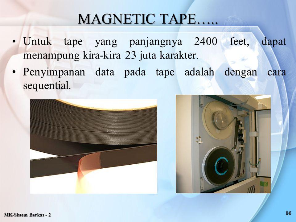 MAGNETIC TAPE….. Untuk tape yang panjangnya 2400 feet, dapat menampung kira-kira 23 juta karakter.