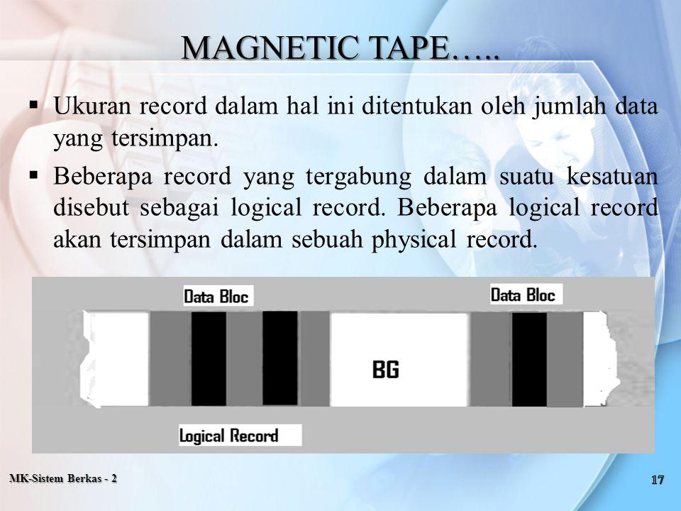 MAGNETIC TAPE….. Ukuran record dalam hal ini ditentukan oleh jumlah data yang tersimpan.