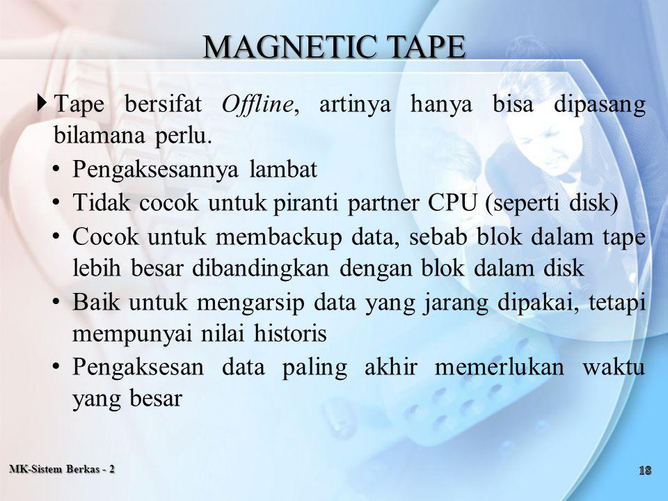 MAGNETIC TAPE Tape bersifat Offline, artinya hanya bisa dipasang bilamana perlu. Pengaksesannya lambat.