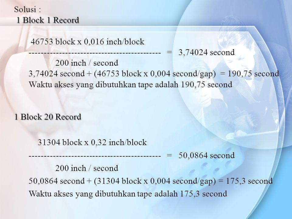 Solusi : 1 Block 1 Record. 46753 block x 0,016 inch/block. -------------------------------------------- = 3,74024 second.