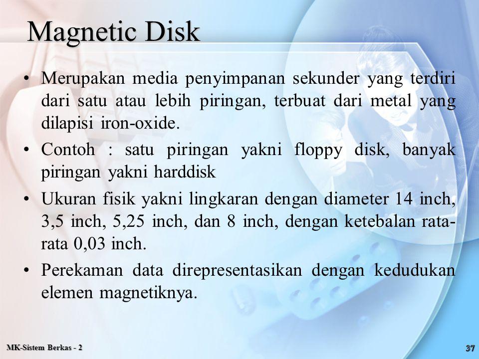 Magnetic Disk Merupakan media penyimpanan sekunder yang terdiri dari satu atau lebih piringan, terbuat dari metal yang dilapisi iron-oxide.