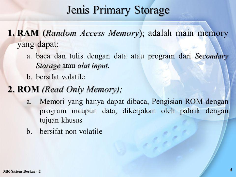 Jenis Primary Storage RAM (Random Access Memory); adalah main memory yang dapat;