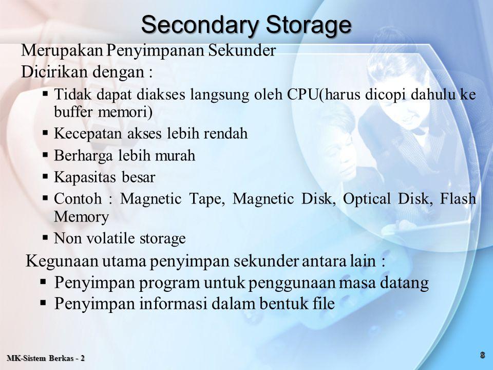 Secondary Storage Merupakan Penyimpanan Sekunder Dicirikan dengan :