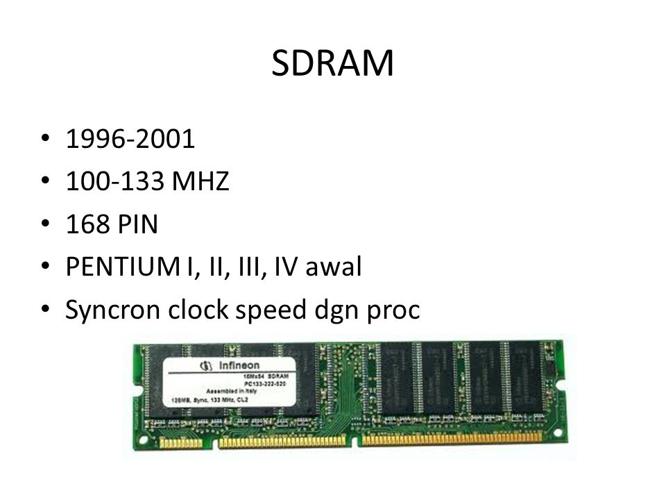 SDRAM 1996-2001 100-133 MHZ 168 PIN PENTIUM I, II, III, IV awal