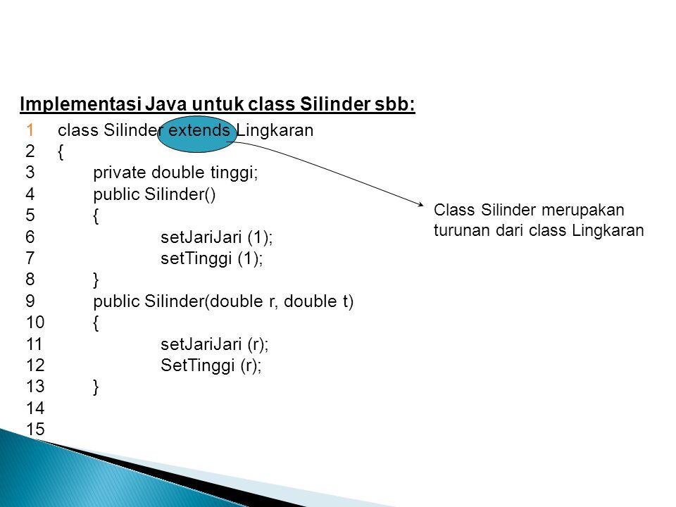 Implementasi Java untuk class Silinder sbb: