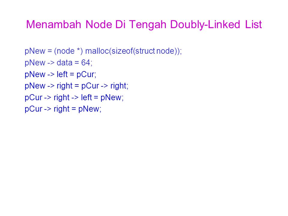 Menambah Node Di Tengah Doubly-Linked List