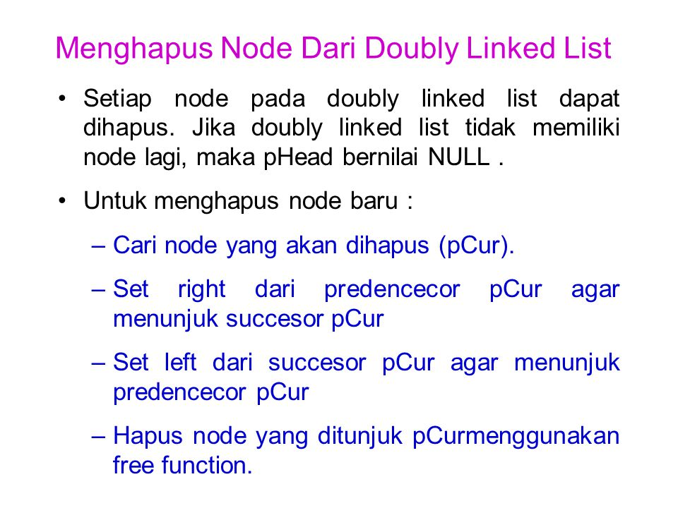 Menghapus Node Dari Doubly Linked List