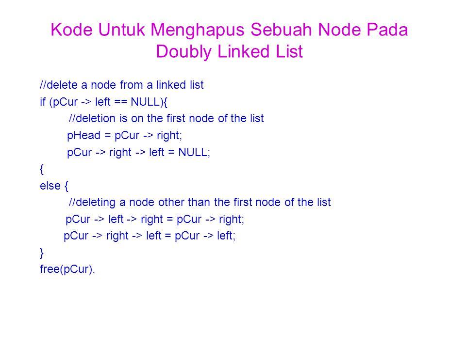 Kode Untuk Menghapus Sebuah Node Pada Doubly Linked List