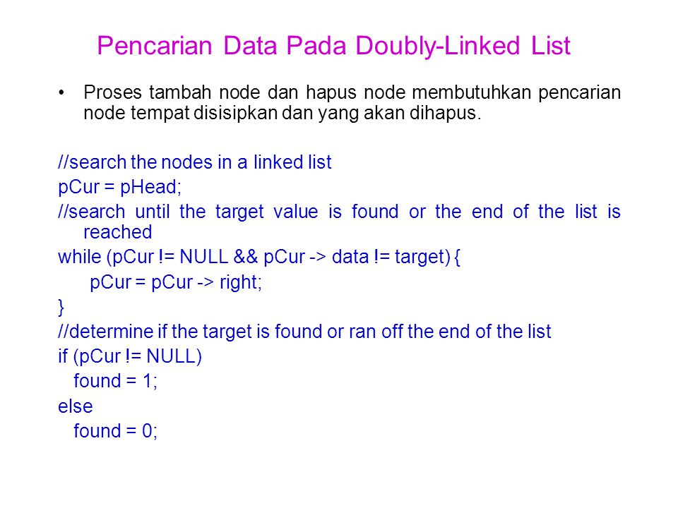 Pencarian Data Pada Doubly-Linked List