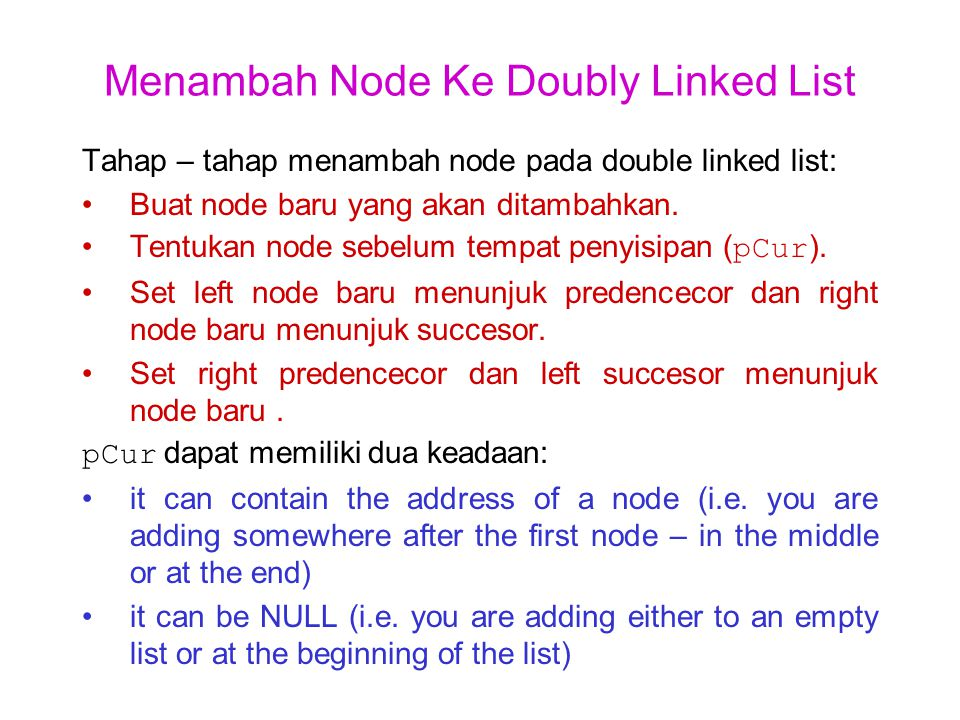 Menambah Node Ke Doubly Linked List