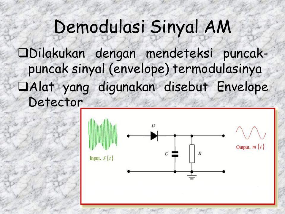 Demodulasi Sinyal AM Dilakukan dengan mendeteksi puncak-puncak sinyal (envelope) termodulasinya.
