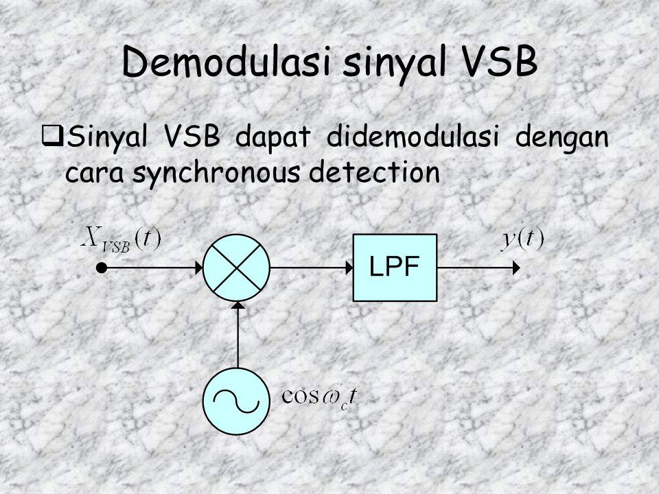 Demodulasi sinyal VSB Sinyal VSB dapat didemodulasi dengan cara synchronous detection