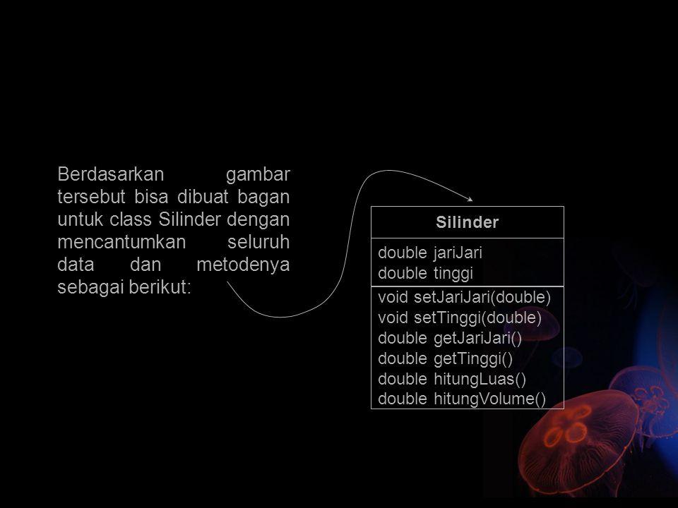 Berdasarkan gambar tersebut bisa dibuat bagan untuk class Silinder dengan mencantumkan seluruh data dan metodenya sebagai berikut: