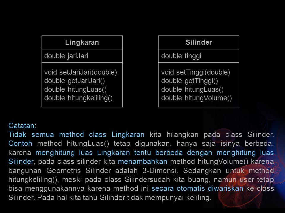 Lingkaran Silinder. double jariJari. double tinggi. void setJariJari(double) double getJariJari()