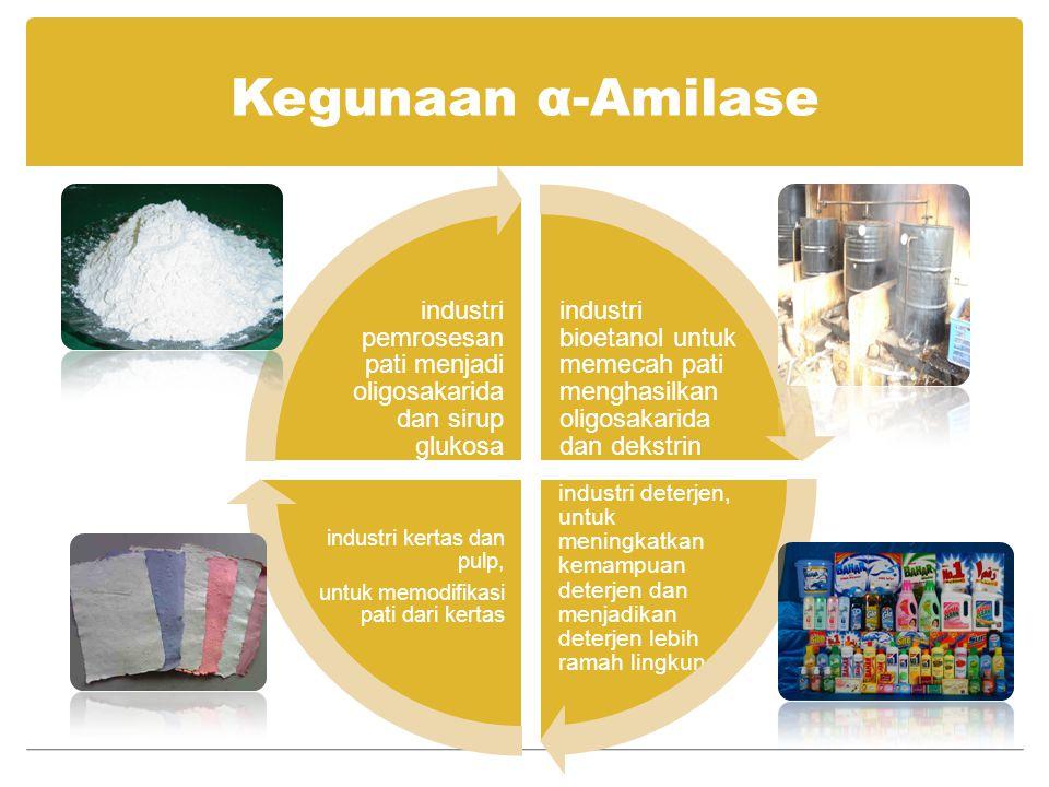 Kegunaan α-Amilase industri bioetanol untuk memecah pati menghasilkan oligosakarida dan dekstrin.
