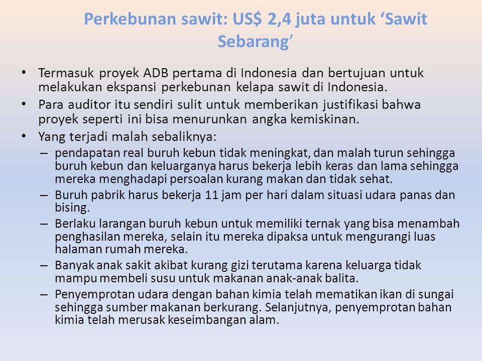 Perkebunan sawit: US$ 2,4 juta untuk 'Sawit Sebarang'