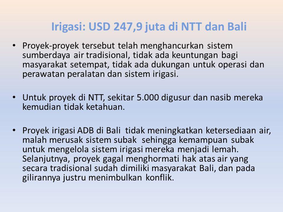 Irigasi: USD 247,9 juta di NTT dan Bali