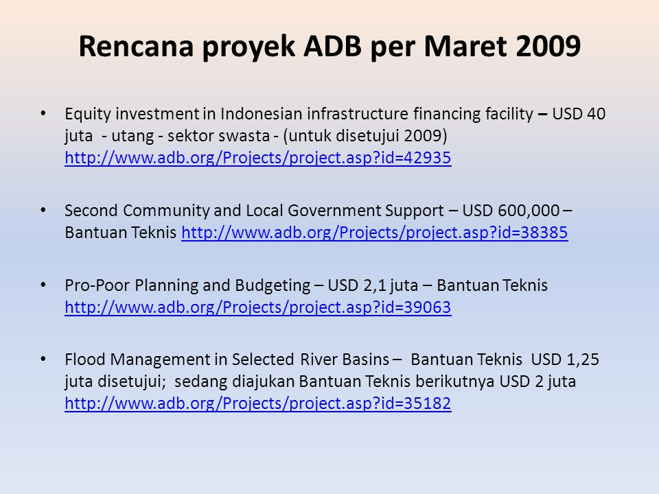 Rencana proyek ADB per Maret 2009