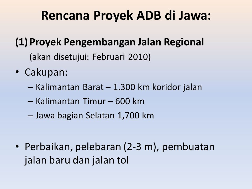 Rencana Proyek ADB di Jawa: