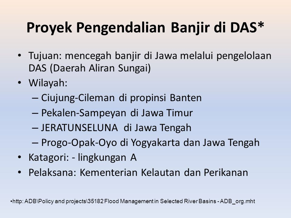 Proyek Pengendalian Banjir di DAS*