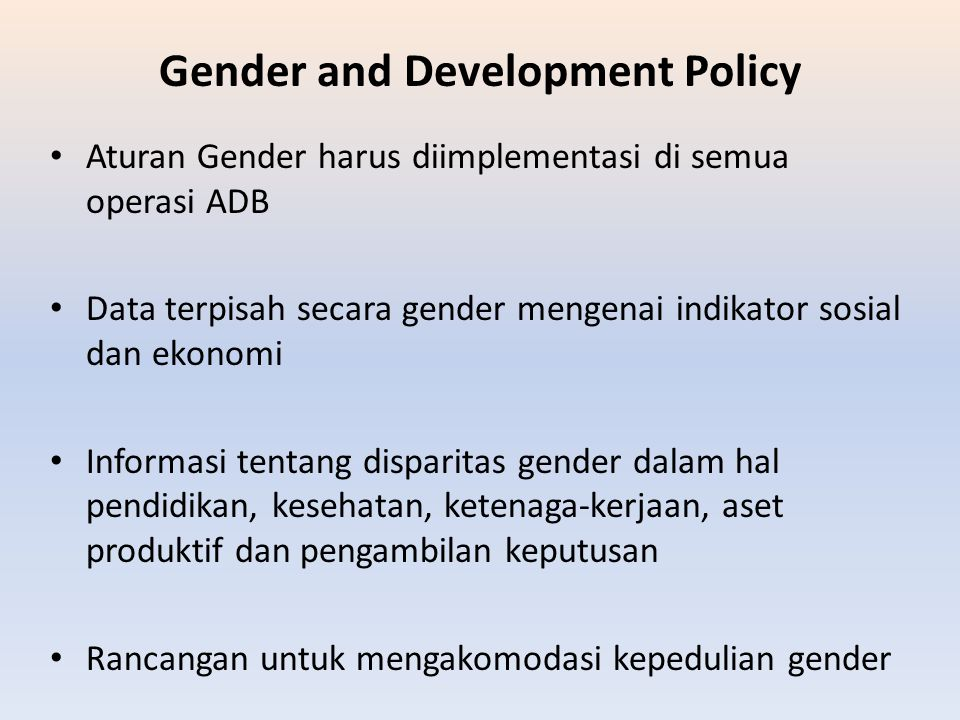 Gender and Development Policy