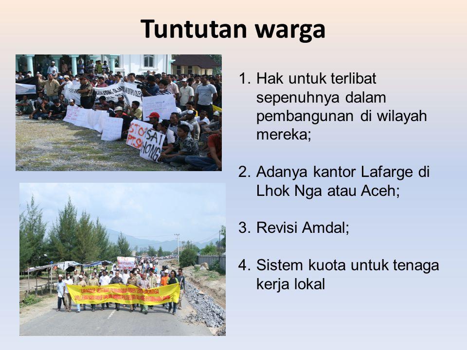 Tuntutan warga Hak untuk terlibat sepenuhnya dalam pembangunan di wilayah mereka; Adanya kantor Lafarge di Lhok Nga atau Aceh;