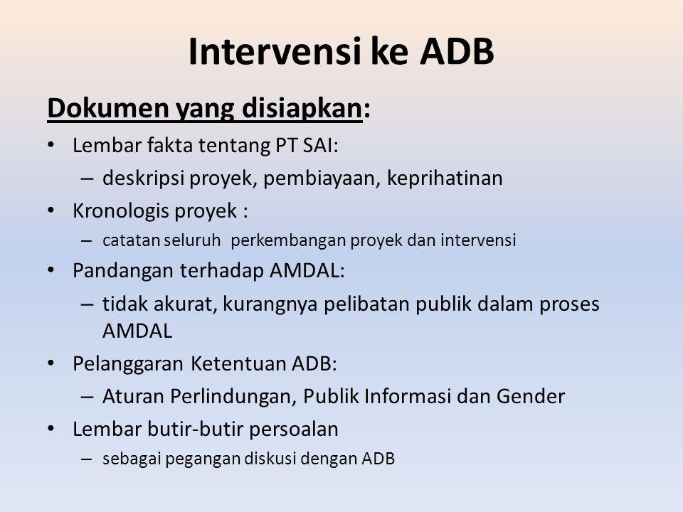 Intervensi ke ADB Dokumen yang disiapkan: Lembar fakta tentang PT SAI: