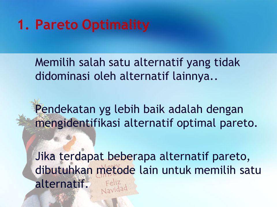 Pareto Optimality Memilih salah satu alternatif yang tidak didominasi oleh alternatif lainnya..