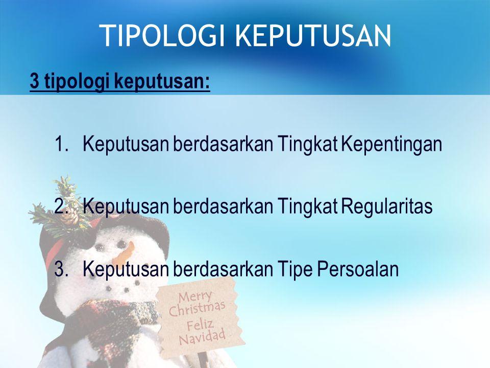 TIPOLOGI KEPUTUSAN 3 tipologi keputusan:
