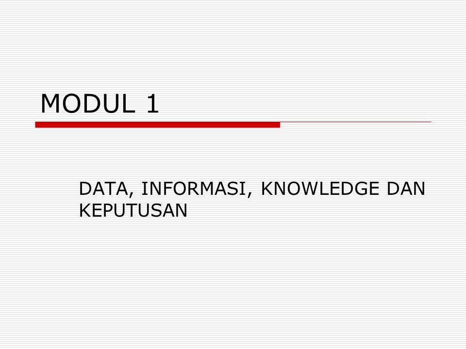DATA, INFORMASI, KNOWLEDGE DAN KEPUTUSAN