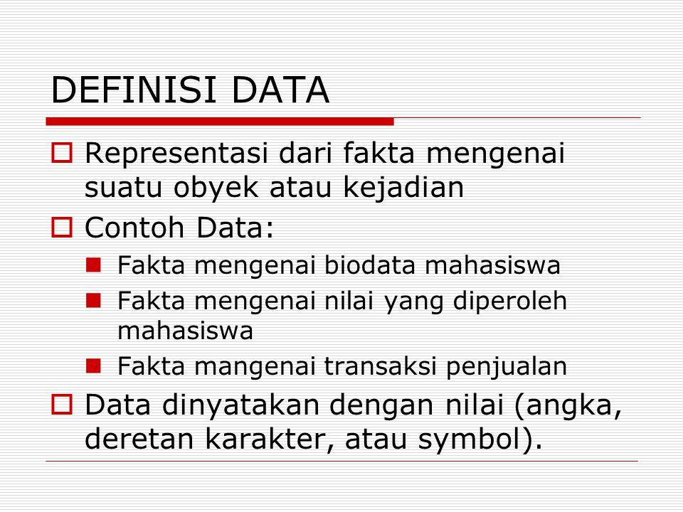 DEFINISI DATA Representasi dari fakta mengenai suatu obyek atau kejadian. Contoh Data: Fakta mengenai biodata mahasiswa.