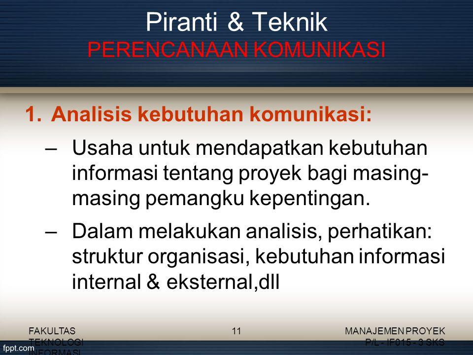 Piranti & Teknik PERENCANAAN KOMUNIKASI