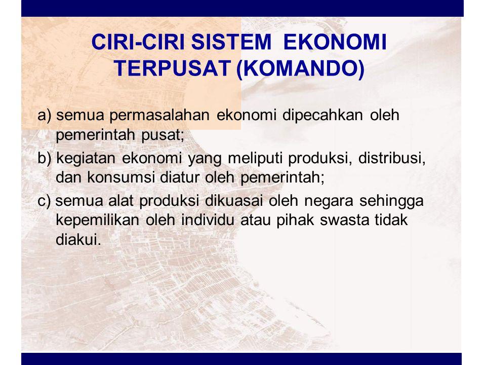 CIRI-CIRI SISTEM EKONOMI TERPUSAT (KOMANDO)