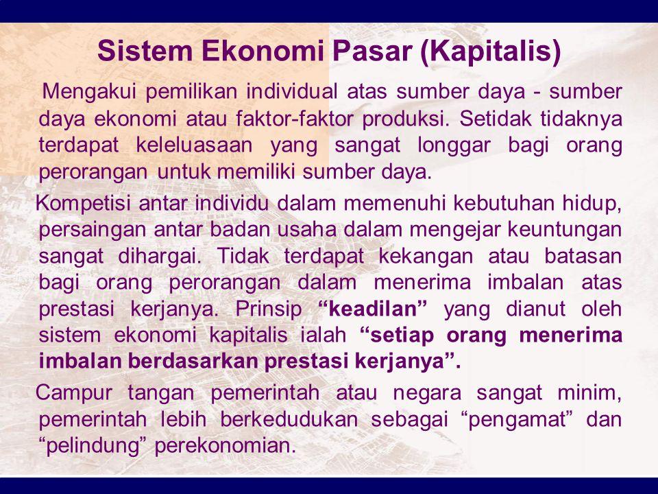 Sistem Ekonomi Pasar (Kapitalis)