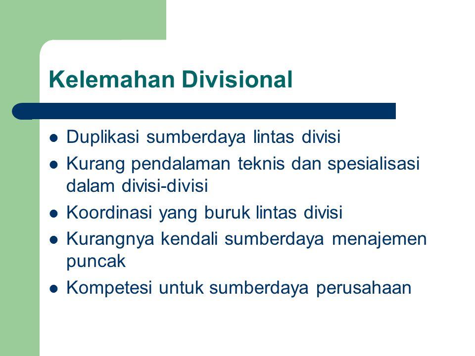 Kelemahan Divisional Duplikasi sumberdaya lintas divisi