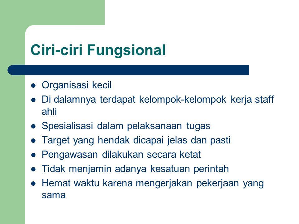 Ciri-ciri Fungsional Organisasi kecil