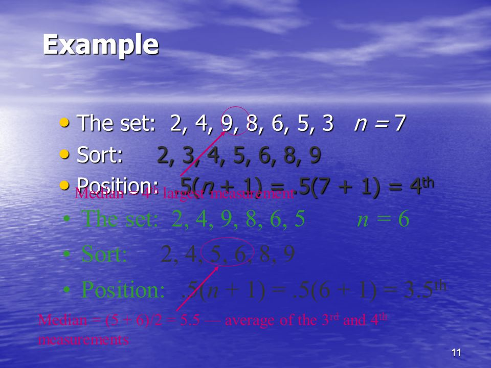 Example The set: 2, 4, 9, 8, 6, 5 n = 6 Sort: 2, 4, 5, 6, 8, 9