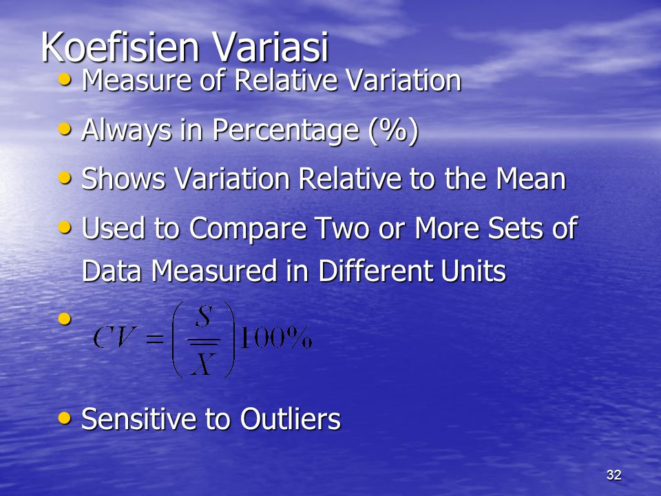 Koefisien Variasi Measure of Relative Variation