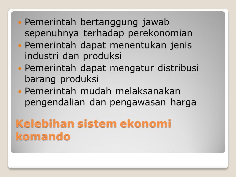 Kelebihan sistem ekonomi komando