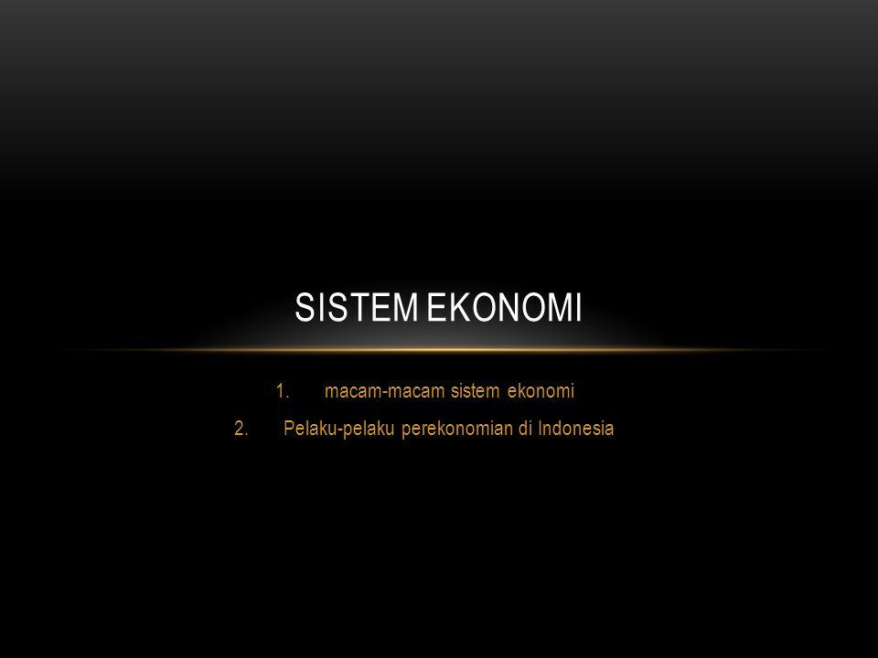 macam-macam sistem ekonomi Pelaku-pelaku perekonomian di Indonesia