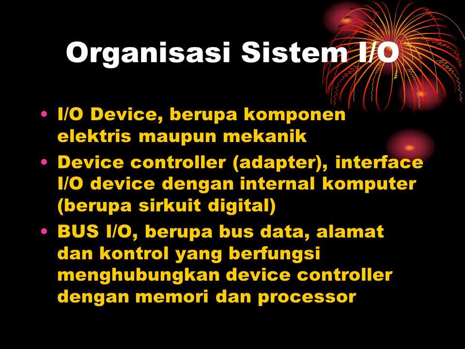Organisasi Sistem I/O I/O Device, berupa komponen elektris maupun mekanik.